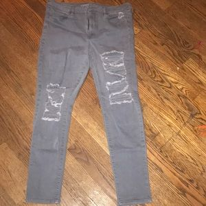 American Eagle Grey Ripped Skinny Jeans